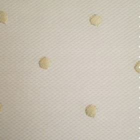 Vallines Bordado - Beige - Cream and white coloured cotton and polyester blend fabric, featuring embroidered polka dots and a subtle dimpled