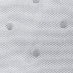 Vallines Bordado - Grey - Cotton and polyester blend fabric in white, featuring a subtle dimple effect, andembroidered polka dots in light