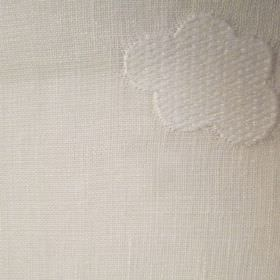 Clouds - White - Fabric made in a plain beige colour, featuring a slightly raised, textured, patterned cloud shape in the same colour