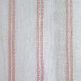 Danbury - Pink - Light shades of pink and grey making up a simple, evenly spaced stripe design with pairs of lines printed on fabric