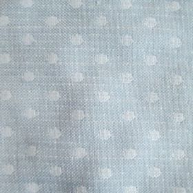 Spots - Blue - White polka dots woven into fabric in a very light shade of blue