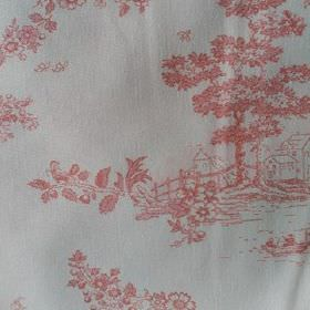 Agustina - Pink - Drawings of outdoor scenes, trees and plants printed in light pinkish red on a white 100% cotton fabric background