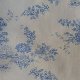 Agustina - Blue - White 100% cotton fabric printed with pretty bright blue floral patterns