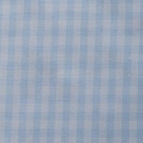 Gerruca - Blue - Checked fabric made from baby blue and white cotton and polyester blend fabric