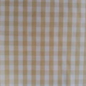 Gerruca - Beige - Coffee and white coloured cotton and polyester blend fabric featuring a simple, classic checked design