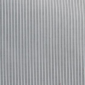 Lluvia - Grey - Vertically striped cotton and polyester blend fabric, made with thin lines alternating in white and iron grey