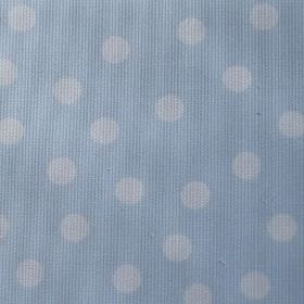 Macarena - Blue-White - White polka dots scattered randomly over a baby blue coloured cotton and polyester blend fabric background