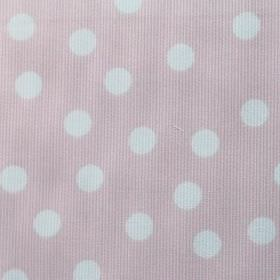 Macarena - Pink-White - Pale pink cotton and polyester blend fabric scattered with polka dots in white