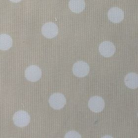 Macarena - Beige-White - Fabric made from cotton and polyester in light grey beige, featuring a random white polka dot pattern