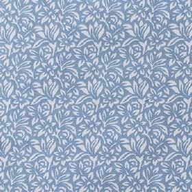 Mariana - Blue - Floral and leaf patterned 100% cotton fabric featuring a small, simple, pretty white design on a cobalt blue background