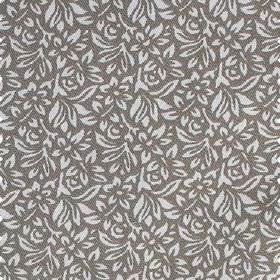 Mariana - Stone - Iron grey 100% cotton fabric behind a small, simple, pretty design of flowers and leaves