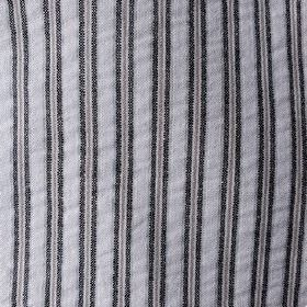 Party Line - Black-White-Beige - Slightly textured 100% cotton fabric featuring a vertical stripe design in jet black and silver shades