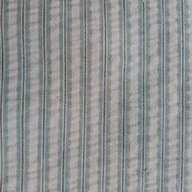 Party Line - Mauve-Turquoise-Beige - Duck egg blue, charcoal and ash grey coloured 100% cotton fabric featuring a narrow, simple vertical st