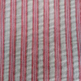 Party Line - Red-Blue-Beige - Light grey 100% cotton fabric featuring a vertical stripe design in plum, light red and pale pink colours
