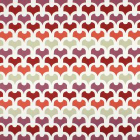 Pembury - Firefly - A simple, repeated pattern in white, green-grey, salmon pink, dark red and purple on 100% cotton fabric