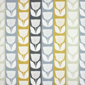 Addington - Saffron - White, light grey, light blue, amber and dark grey striped 100% cotton fabric with a pattern of stylised tulips