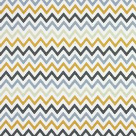 Zag Zig - Saffron - White, amber, light grey and two different shades of blue making up this 100% cotton fabric's zigzag pattern