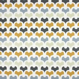 Pembury - Saffron - Simply patterned white, light grey, light blue, dark blue and amber coloured fabric made from 100% cotton
