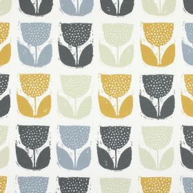 Poppy Pod - Saffron - Rows of stylised tulips in amber, light grey and two different shades of blue on 100% cotton fabric in white