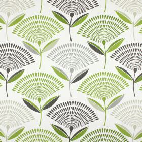 Dandelion - Eucalyptus - Flowers in fan shapes made from green and grey teardrops, on a background of 100% cotton fabric in white
