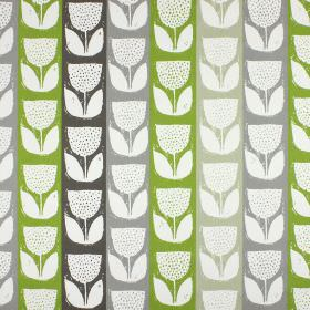 Addington - Eucalyptus - Fabric made from striped 100% cotton fabric in green and three shades of grey, with stylised tulips in white on top