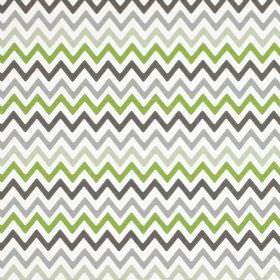 Zag Zig - Eucalyptus - Zigzag print fabric made from 100% cotton in white, apple green and three different shades of grey