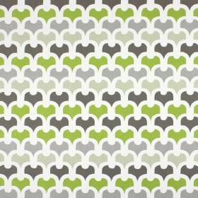 Pembury - Eucalyptus - Three shades of grey, plus white and green, in a simple, repeated pattern on fabric made from 100% cotton