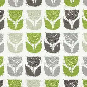 Poppy Pod - Eucalyptus - 100% cotton fabric in white, printed with rows of stylised tulips in green and three shades of grey