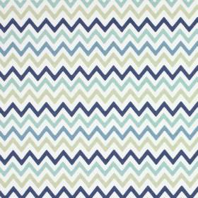 Zag Zig - Colonial - White, light grey and several different shades of blue making up this 100% cotton fabric's zigzag pattern