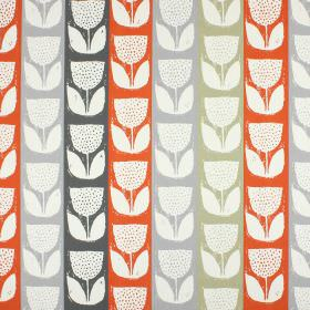 Addington - Amber - Stylised white tulip shapes printed on 100% cotton fabric striped in beige, coral and two different shades of grey