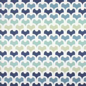 Pembury - Colonial - A simple, repeated pattern on 100% cotton fabric in white, pale grey and several different shades of blue