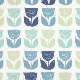 Poppy Pod - Colonial - Stylised tulips in several shades of blue as well as grey, on a background of 100% cotton fabric in white