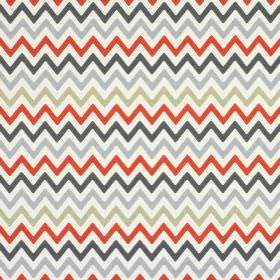 Zag Zig - Amber - Zigzags in two different shades of grey, red-pink and beige, on a white background made from 100% cotton fabric