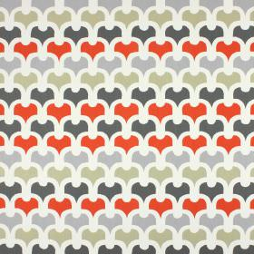 Pembury - Amber - White, light grey, green-beige, coral and dark grey coloured 100% cotton fabric with a simple, repeated pattern