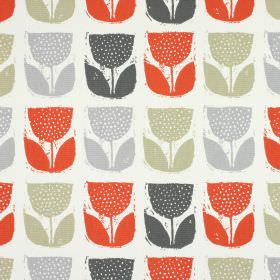 Poppy Pod - Amber - White 100% cotton fabric printed with light grey, green-beige, dark grey and coral coloured stylised tulips