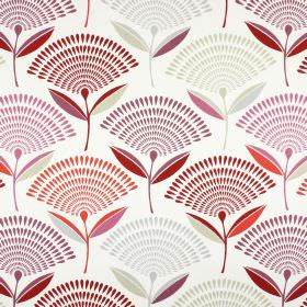 Dandelion - Firefly - Red, purple and grey teardrops arranged in fan shaped flowers on 100% cotton fabric in white