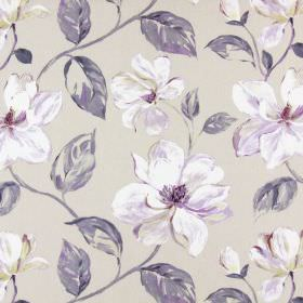 Siricusa - Lavender - White and lavender modern floral pattern on sandy coloured fabric