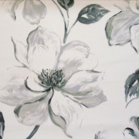 Siricusa - Graphite - Graphite modern floral pattern on white fabric