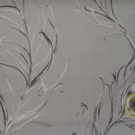 Pietra - Chardonnay - Blue fabric with grey white and black peackock feathers