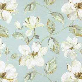 Siricusa - Duck Egg - White and grey blue modern floral pattern on duck egg blue fabric