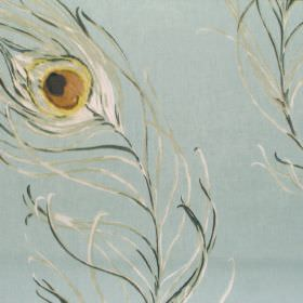 Pietra - Duck Egg - Blue fabric with blue green and yellow peackock feathers