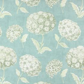Sicilia - Duck Egg - White and grey floral pattern on light blue fabric