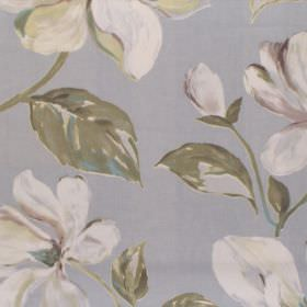 Siricusa - Cameo - White and green modern floral pattern on light blue fabric