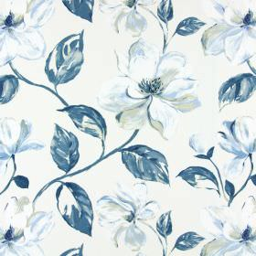 Siricusa - Indigo - White and indigo modern floral pattern on white fabric