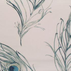 Pietra - Indigo - White fabric with blue green and grey peackock feathers
