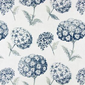 Sicilia - Indigo - Indigo coloured floral pattern on white fabric