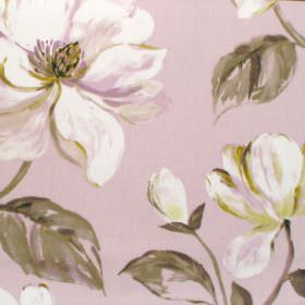 Siricusa - Rosebud - White and green modern floral pattern on rosebud coloured fabric