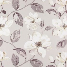 Siricusa - Dusk - White modern floral pattern on light grey fabric