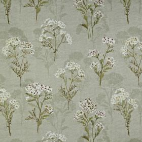 Yarrow - Berry - Delicate white and grey florals arranged neatly on a light grey 100% cotton fabric background