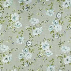 Bowness - Samphire - Floral patterned fabric made in light, elegant shades of blue and grey, containing a 100% cotton content